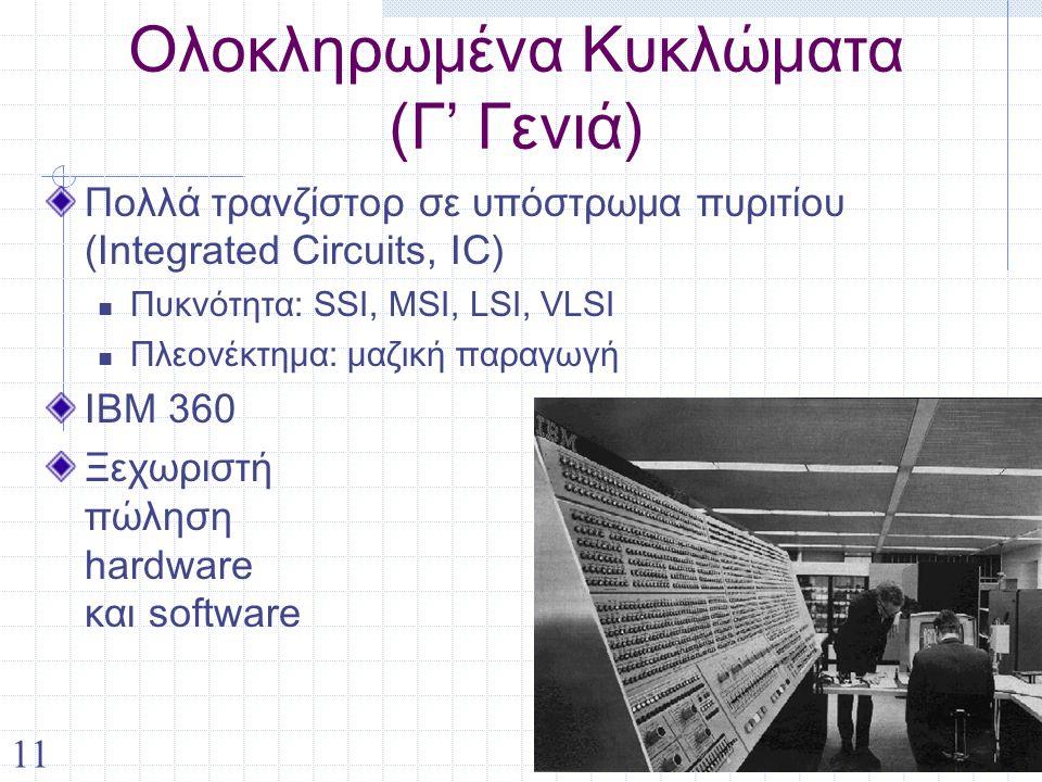 11 Ολοκληρωμένα Κυκλώματα (Γ' Γενιά) Πολλά τρανζίστορ σε υπόστρωμα πυριτίου (Integrated Circuits, IC) Πυκνότητα: SSI, MSI, LSI, VLSI Πλεονέκτημα: μαζική παραγωγή IBM 360 Ξεχωριστή πώληση hardware και software