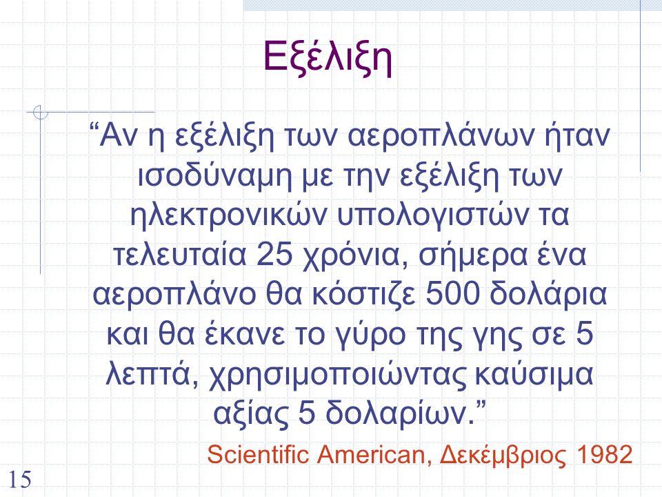 15 Εξέλιξη Αν η εξέλιξη των αεροπλάνων ήταν ισοδύναμη με την εξέλιξη των ηλεκτρονικών υπολογιστών τα τελευταία 25 χρόνια, σήμερα ένα αεροπλάνο θα κόστιζε 500 δολάρια και θα έκανε το γύρο της γης σε 5 λεπτά, χρησιμοποιώντας καύσιμα αξίας 5 δολαρίων. Scientific American, Δεκέμβριος 1982