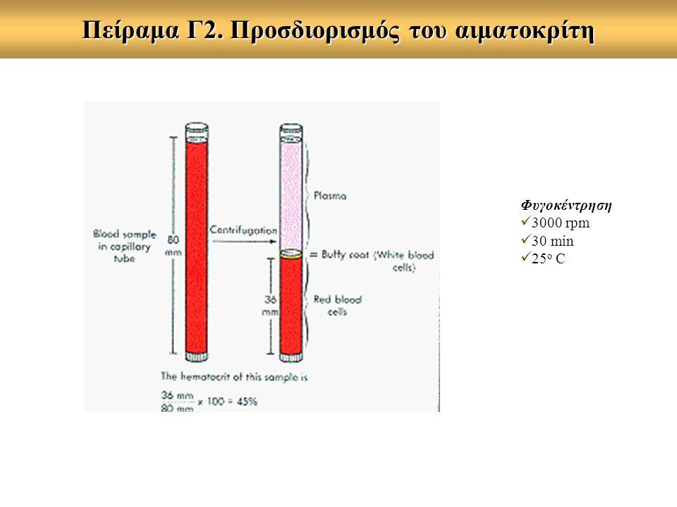 Πείραμα Γ2. Προσδιορισμός του αιματοκρίτη Φυγοκέντρηση 3000 rpm 30 min 25 o C
