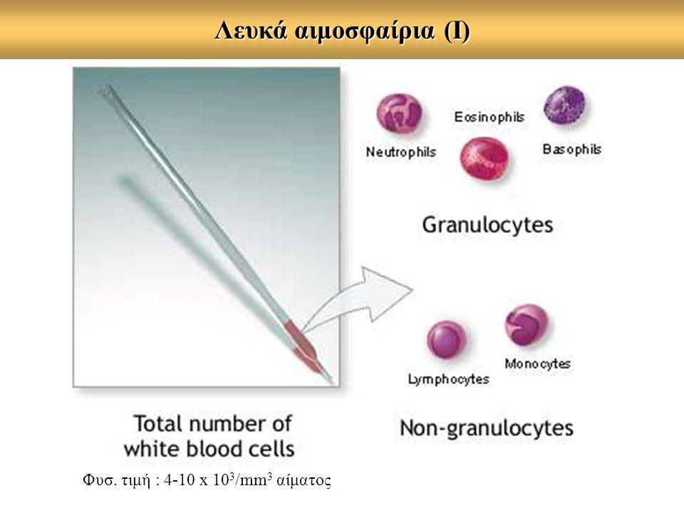 Λευκά αιμοσφαίρια (Ι) Φυσ. τιμή : 4-10 x 10 3 /mm 3 αίματος