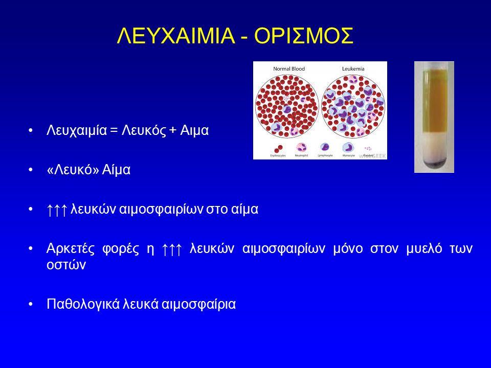 ΛΕΥΧΑΙΜΙΑ - ΟΡΙΣΜΟΣ Λευχαιμία = Λευκός + Αιμα «Λευκό» Αίμα ↑↑↑ λευκών αιμοσφαιρίων στο αίμα Αρκετές φορές η ↑↑↑ λευκών αιμοσφαιρίων μόνο στον μυελό τω