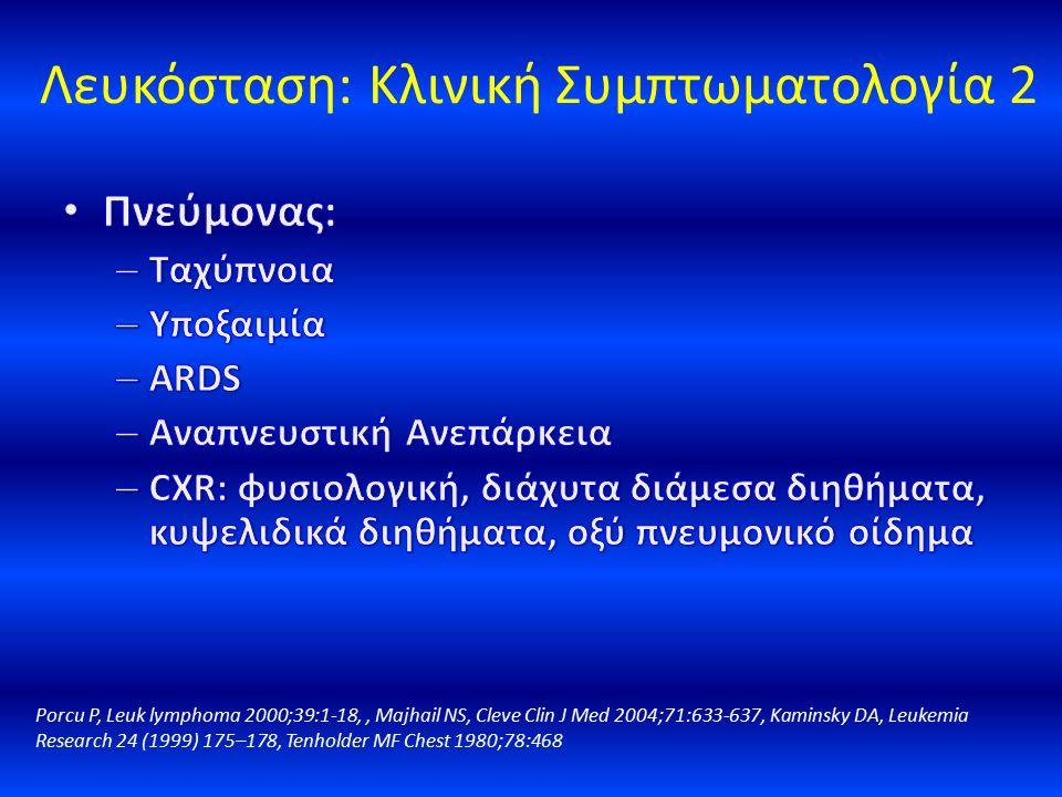 Λευκόσταση: Κλινική Συμπτωματολογία 2 Porcu P, Leuk lymphoma 2000;39:1-18,, Majhail NS, Cleve Clin J Med 2004;71:633-637, Kaminsky DA, Leukemia Resear