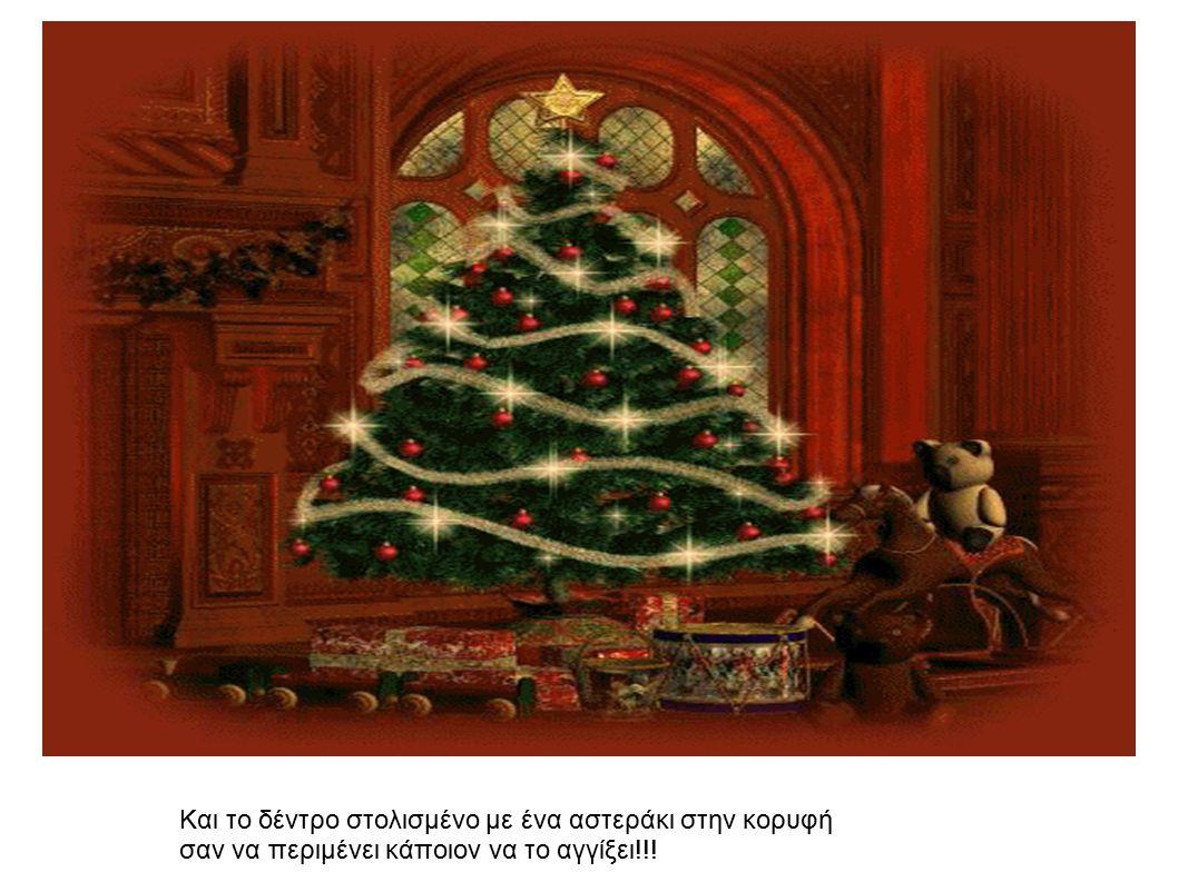 Και το δέντρο στολισμένο με ένα αστεράκι στην κορυφή σαν να περιμένει κάποιον να το αγγίξει!!!