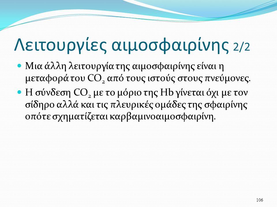 Λειτουργίες αιμοσφαιρίνης 2/2 Μια άλλη λειτουργία της αιμοσφαιρίνης είναι η μεταφορά του CO 2 από τους ιστούς στους πνεύμονες.