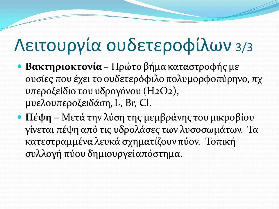 Λειτουργία ουδετεροφίλων 3/3 Βακτηριοκτονία – Πρώτο βήμα καταστροφής με ουσίες που έχει το ουδετερόφιλο πολυμορφοπύρηνο, πχ υπεροξείδιο του υδρογόνου (Η2Ο2), μυελουπεροξειδάση, Ι 2, Βr, Cl.