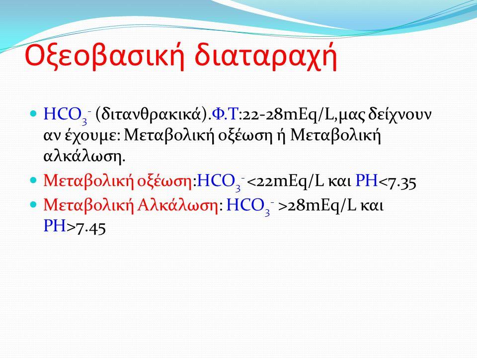 Οξεοβασική διαταραχή HCO 3 - (διτανθρακικά).Φ.Τ:22-28mEq/L,μας δείχνουν αν έχουμε: Μεταβολική οξέωση ή Μεταβολική αλκάλωση.