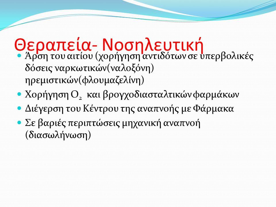 Θεραπεία- Νοσηλευτική Άρση του αιτίου (χορήγηση αντιδότων σε υπερβολικές δόσεις ναρκωτικών(ναλοξόνη) ηρεμιστικών(φλουμαζελίνη) Χορήγηση Ο 2 και βρογχοδιασταλτικών φαρμάκων Διέγερση του Κέντρου της αναπνοής με Φάρμακα Σε βαριές περιπτώσεις μηχανική αναπνοή (διασωλήνωση)