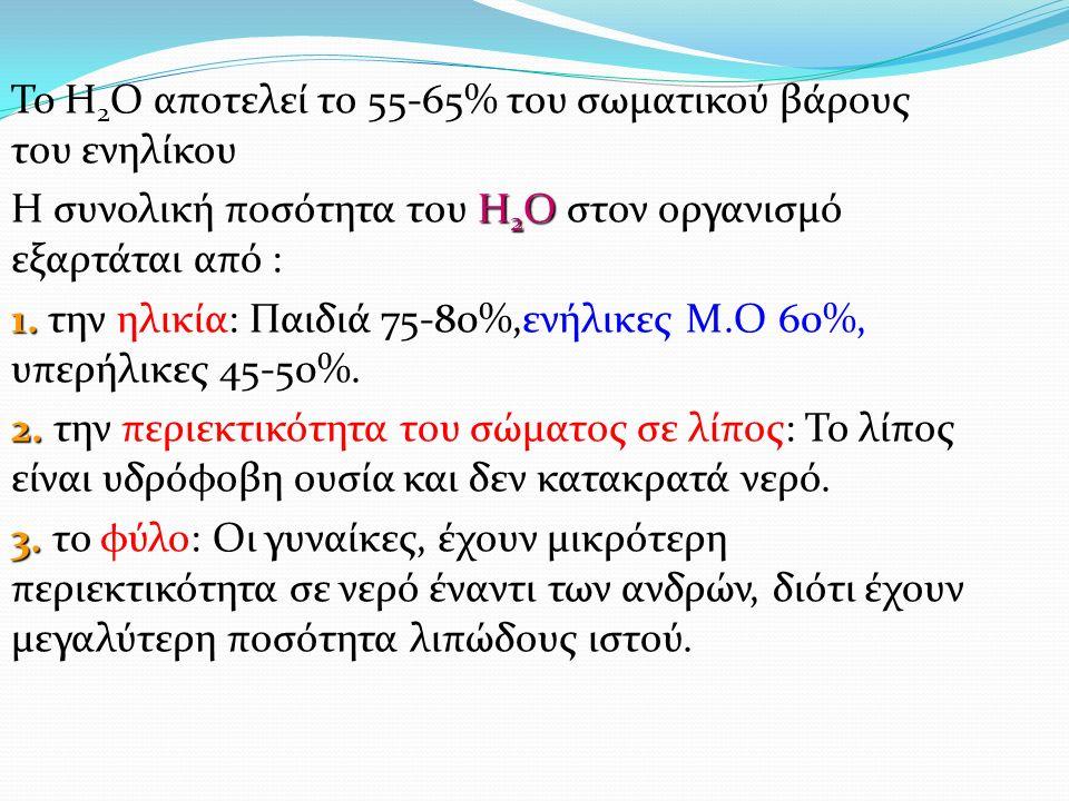 To H 2 O αποτελεί το 55-65% του σωματικού βάρους του ενηλίκου Η 2 Ο Η συνολική ποσότητα του Η 2 Ο στον οργανισμό εξαρτάται από : 1.
