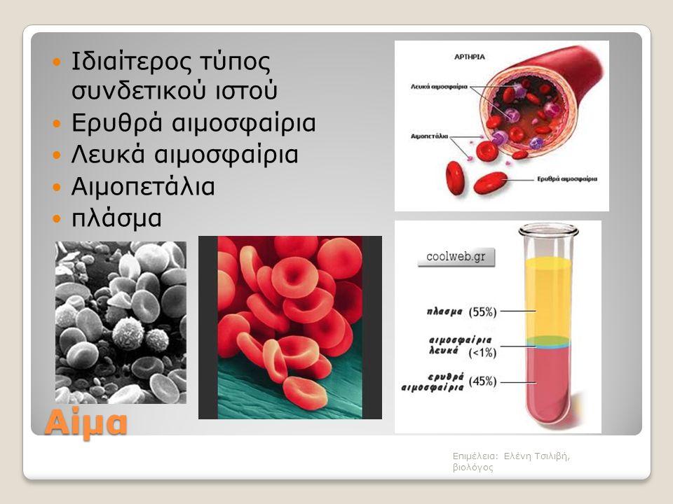Αίμα Ιδιαίτερος τύπος συνδετικού ιστού Ερυθρά αιμοσφαίρια Λευκά αιμοσφαίρια Αιμοπετάλια πλάσμα Επιμέλεια: Ελένη Τσιλιβή, βιολόγος