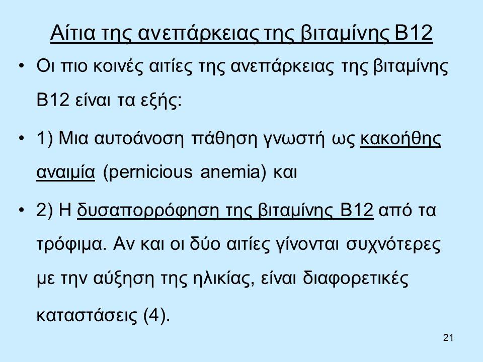 21 Αίτια της ανεπάρκειας της βιταμίνης B12 Οι πιο κοινές αιτίες της ανεπάρκειας της βιταμίνης Β12 είναι τα εξής: 1) Μια αυτοάνοση πάθηση γνωστή ως κακοήθης αναιμία (pernicious anemia) και 2) Η δυσαπορρόφηση της βιταμίνης Β12 από τα τρόφιμα.