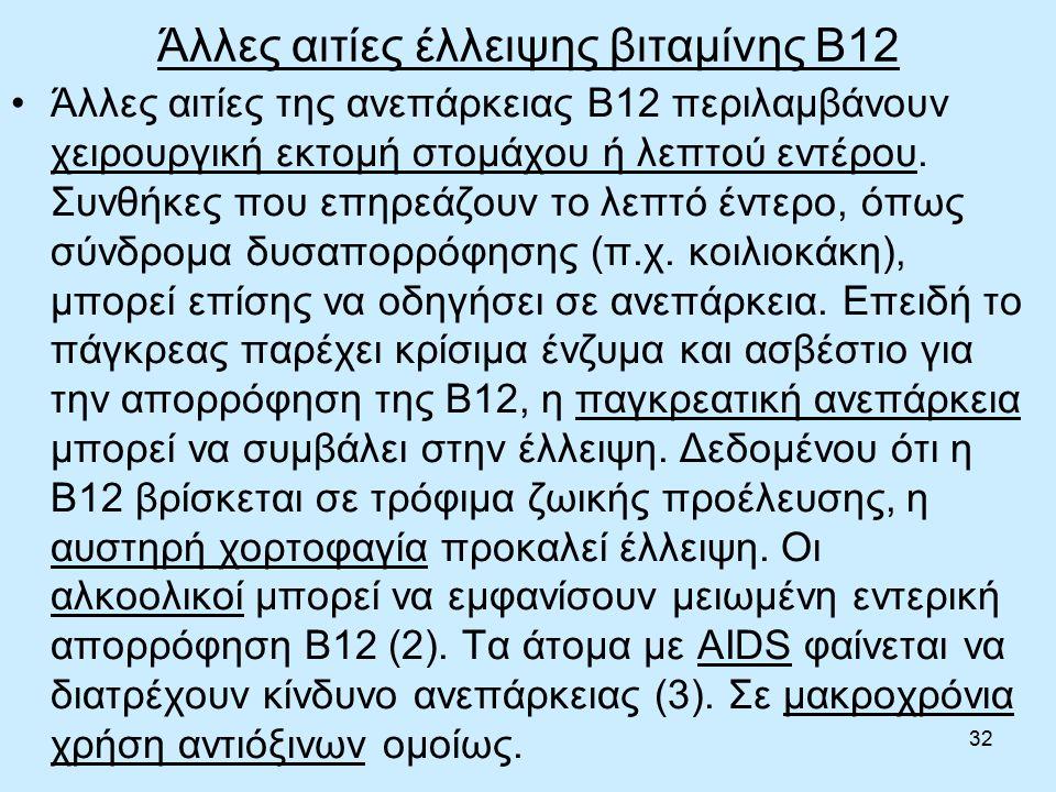 32 Άλλες αιτίες έλλειψης βιταμίνης B12 Άλλες αιτίες της ανεπάρκειας Β12 περιλαμβάνουν χειρουργική εκτομή στομάχου ή λεπτού εντέρου.