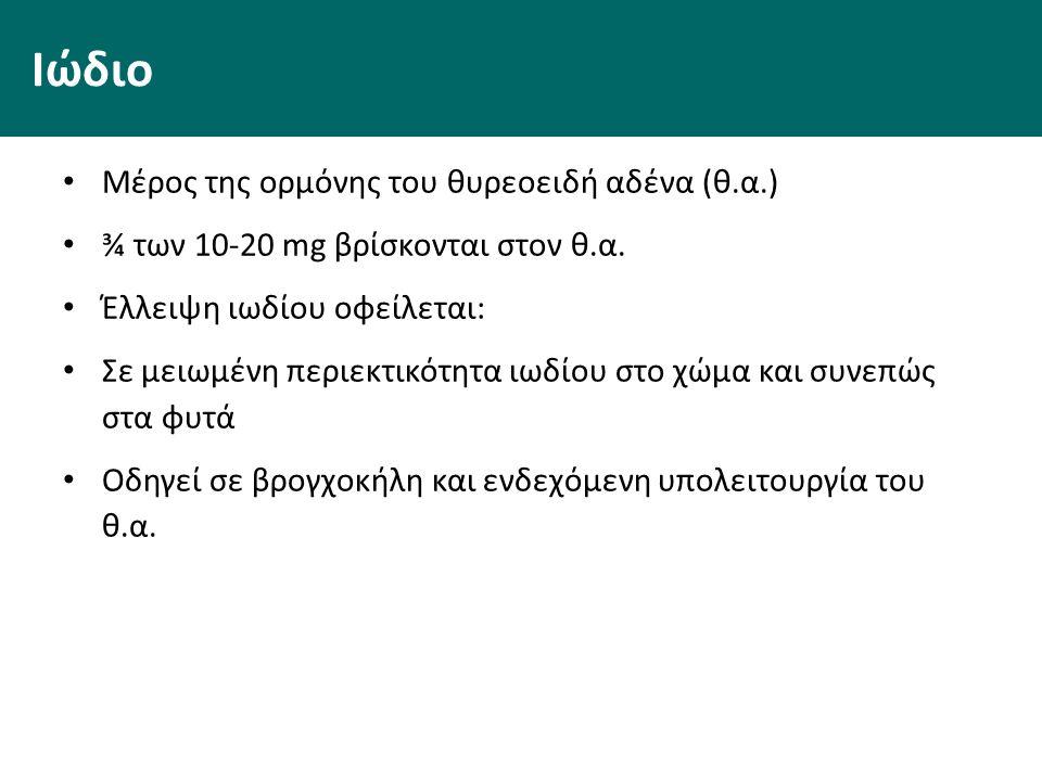 Ιώδιο Μέρος της ορμόνης του θυρεοειδή αδένα (θ.α.) ¾ των 10-20 mg βρίσκονται στον θ.α.