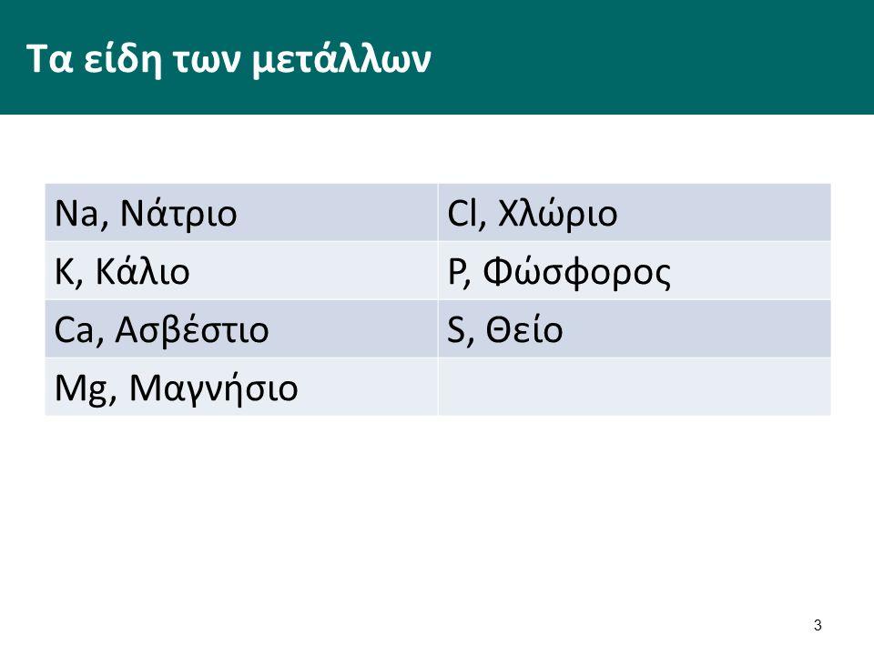 Τα είδη των μετάλλων Na, ΝάτριοCl, Χλώριο K, ΚάλιοP, Φώσφορος Ca, ΑσβέστιοS, Θείο Mg, Μαγνήσιο 3