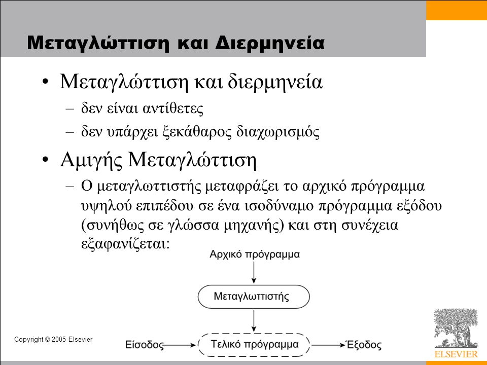 Copyright © 2005 Elsevier Μεταγλώττιση και Διερμηνεία Μεταγλώττιση και διερμηνεία –δεν είναι αντίθετες –δεν υπάρχει ξεκάθαρος διαχωρισμός Αμιγής Μεταγλώττιση –Ο μεταγλωττιστής μεταφράζει το αρχικό πρόγραμμα υψηλού επιπέδου σε ένα ισοδύναμο πρόγραμμα εξόδου (συνήθως σε γλώσσα μηχανής) και στη συνέχεια εξαφανίζεται: