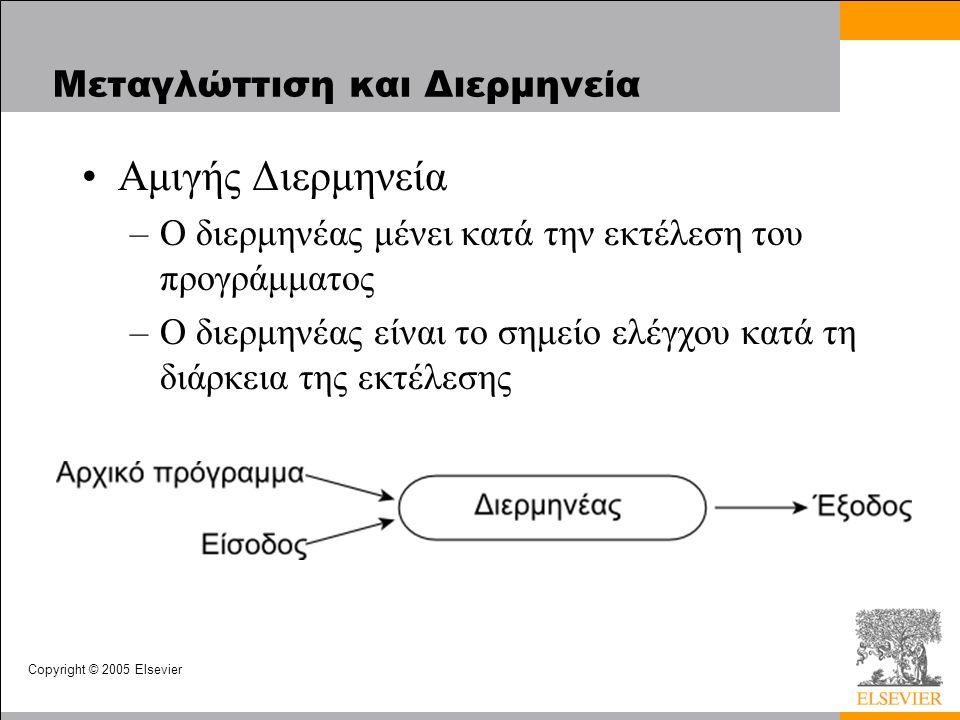 Copyright © 2005 Elsevier Μεταγλώττιση και Διερμηνεία Αμιγής Διερμηνεία –Ο διερμηνέας μένει κατά την εκτέλεση του προγράμματος –Ο διερμηνέας είναι το σημείο ελέγχου κατά τη διάρκεια της εκτέλεσης