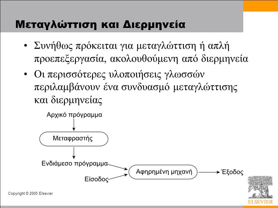 Copyright © 2005 Elsevier Μεταγλώττιση και Διερμηνεία Συνήθως πρόκειται για μεταγλώττιση ή απλή προεπεξεργασία, ακολουθούμενη από διερμηνεία Οι περισσότερες υλοποιήσεις γλωσσών περιλαμβάνουν ένα συνδυασμό μεταγλώττισης και διερμηνείας
