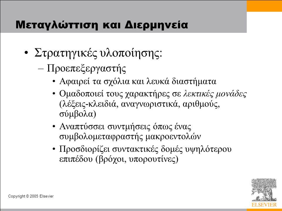 Copyright © 2005 Elsevier Μεταγλώττιση και Διερμηνεία Στρατηγικές υλοποίησης: –Προεπεξεργαστής Αφαιρεί τα σχόλια και λευκά διαστήματα Ομαδοποιεί τους χαρακτήρες σε λεκτικές μονάδες (λέξεις-κλειδιά, αναγνωριστικά, αριθμούς, σύμβολα) Αναπτύσσει συντμήσεις όπως ένας συμβολομεταφραστής μακροεντολών Προσδιορίζει συντακτικές δομές υψηλότερου επιπέδου (βρόχοι, υπορουτίνες)