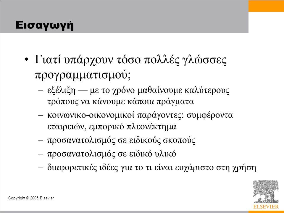 Copyright © 2005 Elsevier Εισαγωγή Γιατί υπάρχουν τόσο πολλές γλώσσες προγραμματισμού; –εξέλιξη — με το χρόνο μαθαίνουμε καλύτερους τρόπους να κάνουμε κάποια πράγματα –κοινωνικο-οικονομικοί παράγοντες: συμφέροντα εταιρειών, εμπορικό πλεονέκτημα –προσανατολισμός σε ειδικούς σκοπούς –προσανατολισμός σε ειδικό υλικό –διαφορετικές ιδέες για το τι είναι ευχάριστο στη χρήση