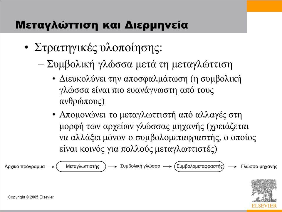 Copyright © 2005 Elsevier Μεταγλώττιση και Διερμηνεία Στρατηγικές υλοποίησης: –Συμβολική γλώσσα μετά τη μεταγλώττιση Διευκολύνει την αποσφαλμάτωση (η συμβολική γλώσσα είναι πιο ευανάγνωστη από τους ανθρώπους) Απομονώνει το μεταγλωττιστή από αλλαγές στη μορφή των αρχείων γλώσσας μηχανής (χρειάζεται να αλλάξει μόνον ο συμβολομεταφραστής, ο οποίος είναι κοινός για πολλούς μεταγλωττιστές)