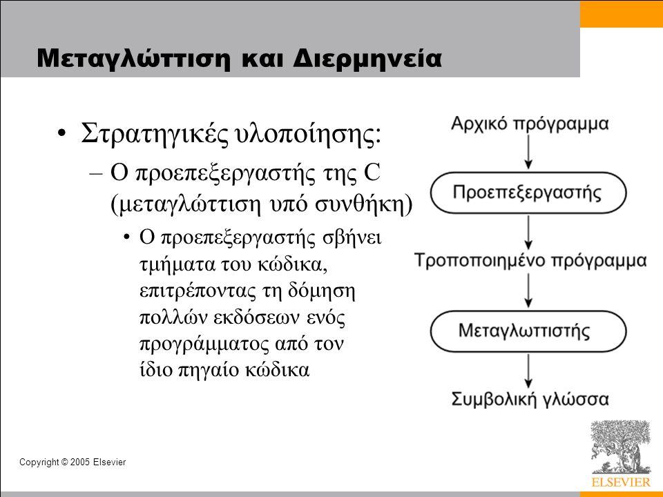 Copyright © 2005 Elsevier Μεταγλώττιση και Διερμηνεία Στρατηγικές υλοποίησης: –Ο προεπεξεργαστής της C (μεταγλώττιση υπό συνθήκη) Ο προεπεξεργαστής σβήνει τμήματα του κώδικα, επιτρέποντας τη δόμηση πολλών εκδόσεων ενός προγράμματος από τον ίδιο πηγαίο κώδικα