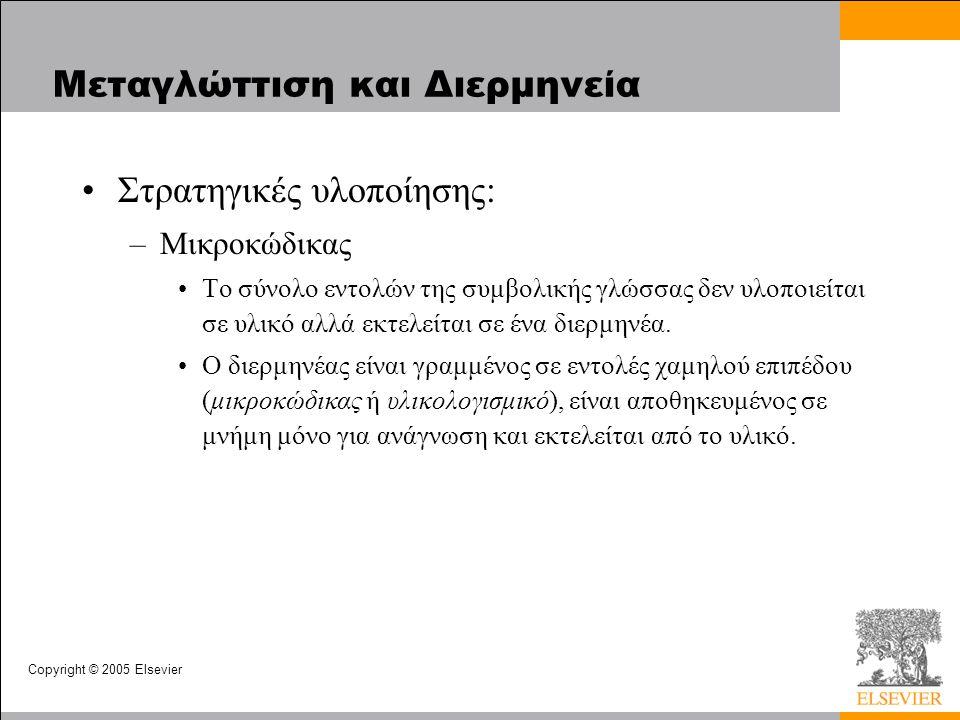 Copyright © 2005 Elsevier Μεταγλώττιση και Διερμηνεία Στρατηγικές υλοποίησης: –Μικροκώδικας Το σύνολο εντολών της συμβολικής γλώσσας δεν υλοποιείται σε υλικό αλλά εκτελείται σε ένα διερμηνέα.