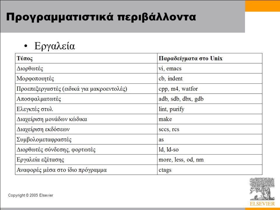 Copyright © 2005 Elsevier Προγραμματιστικά περιβάλλοντα Εργαλεία