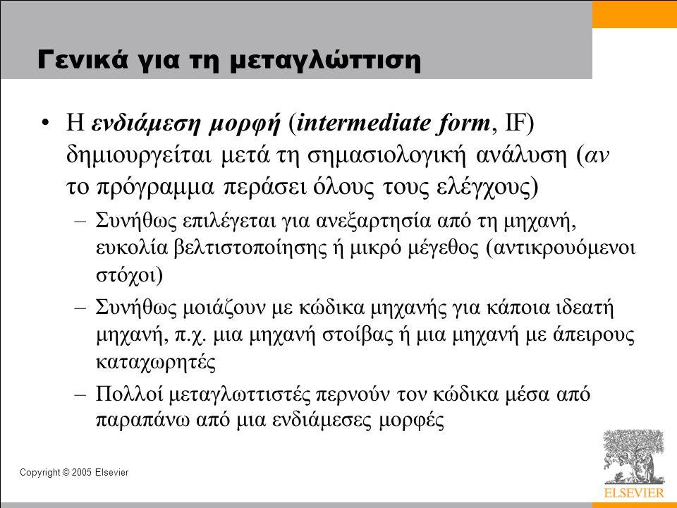 Copyright © 2005 Elsevier Γενικά για τη μεταγλώττιση H ενδιάμεση μορφή (intermediate form, IF) δημιουργείται μετά τη σημασιολογική ανάλυση (αν το πρόγ