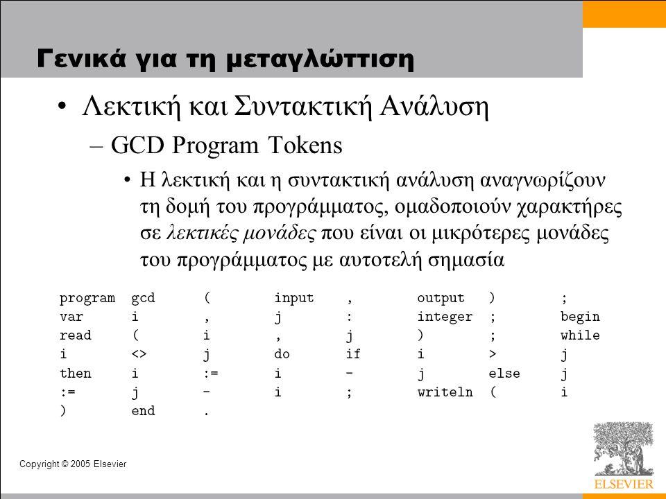 Copyright © 2005 Elsevier Γενικά για τη μεταγλώττιση Λεκτική και Συντακτική Ανάλυση –GCD Program Tokens Η λεκτική και η συντακτική ανάλυση αναγνωρίζουν τη δομή του προγράμματος, ομαδοποιούν χαρακτήρες σε λεκτικές μονάδες που είναι οι μικρότερες μονάδες του προγράμματος με αυτοτελή σημασία