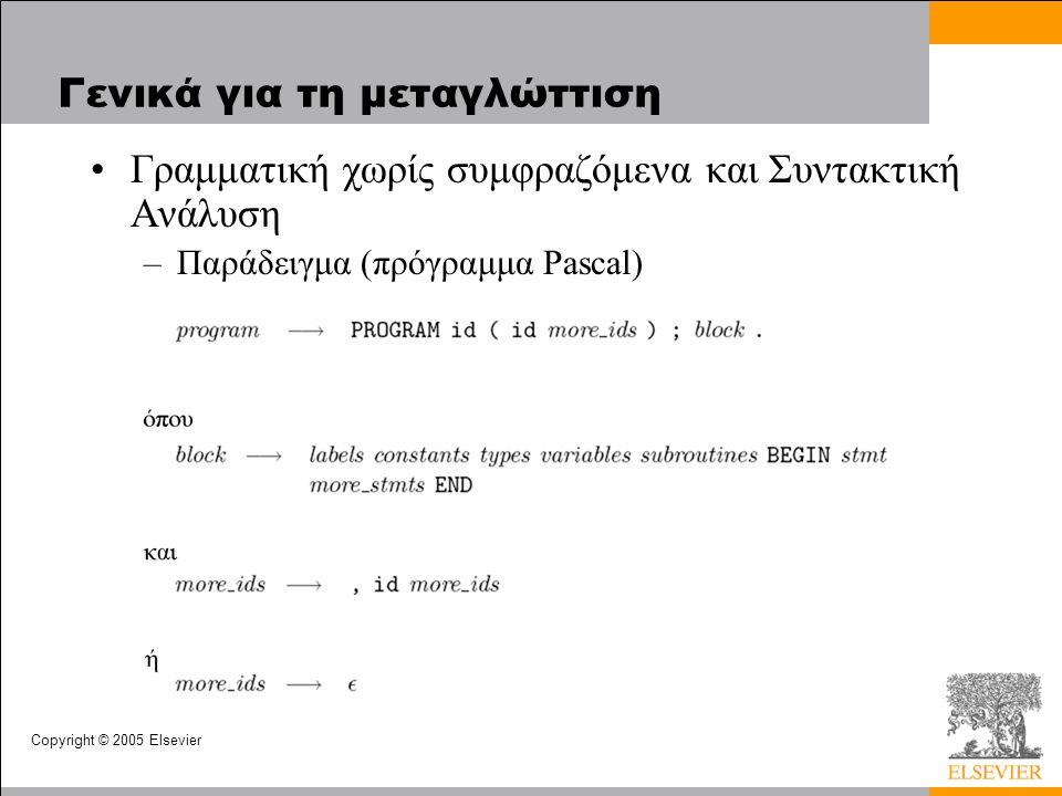 Copyright © 2005 Elsevier Γενικά για τη μεταγλώττιση Γραμματική χωρίς συμφραζόμενα και Συντακτική Ανάλυση –Παράδειγμα (πρόγραμμα Pascal)