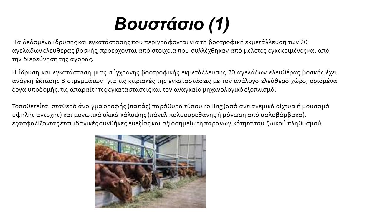 Βουστάσιο (1) Τα δεδομένα ίδρυσης και εγκατάστασης που περιγράφονται για τη βοοτροφική εκμετάλλευση των 20 αγελάδων ελευθέρας βοσκής, προέρχονται από στοιχεία που συλλέχθηκαν από μελέτες εγκεκριμένες και από την διερεύνηση της αγοράς.