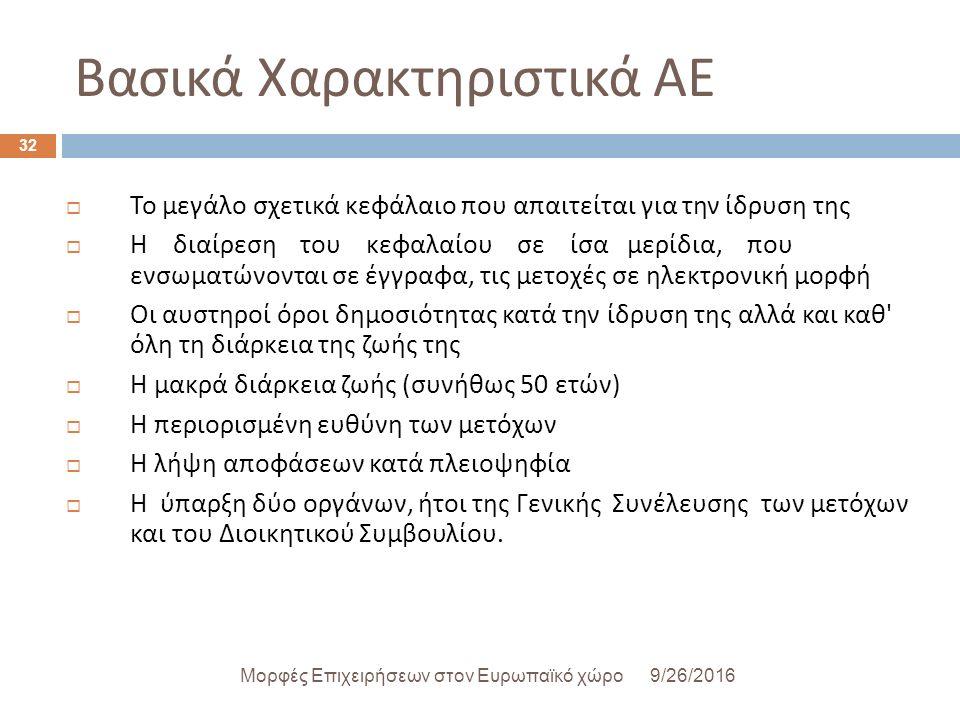 Βασικά Χαρακτηριστικά ΑΕ 9/26/2016Μορφές Επιχειρήσεων στον Ευρωπαϊκό χώρο 32  Το μεγάλο σχετικά κεφάλαιο που απαιτείται για την ίδρυση της  Η διαίρεση του κεφαλαίου σε ίσα μερίδια, που ενσωματώνονται σε έγγραφα, τις μετοχές σε ηλεκτρονική μορφή  Οι αυστηροί όροι δημοσιότητας κατά την ίδρυση της αλλά και καθ όλη τη διάρκεια της ζωής της  Η μακρά διάρκεια ζωής ( συνήθως 50 ετών )  Η περιορισμένη ευθύνη των μετόχων  Η λήψη αποφάσεων κατά πλειοψηφία  Η ύπαρξη δύο οργάνων, ήτοι της Γενικής Συνέλευσης των μετόχων και του Διοικητικού Συμβουλίου.