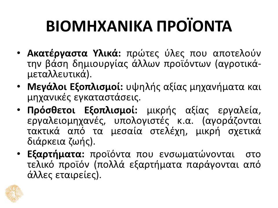 ΒΙΟΜΗΧΑΝΙΚΑ ΠΡΟΪΟΝΤΑ Υλικά διαδικασίας: χρησιμοποιούνται στην παραγωγή π.χ.
