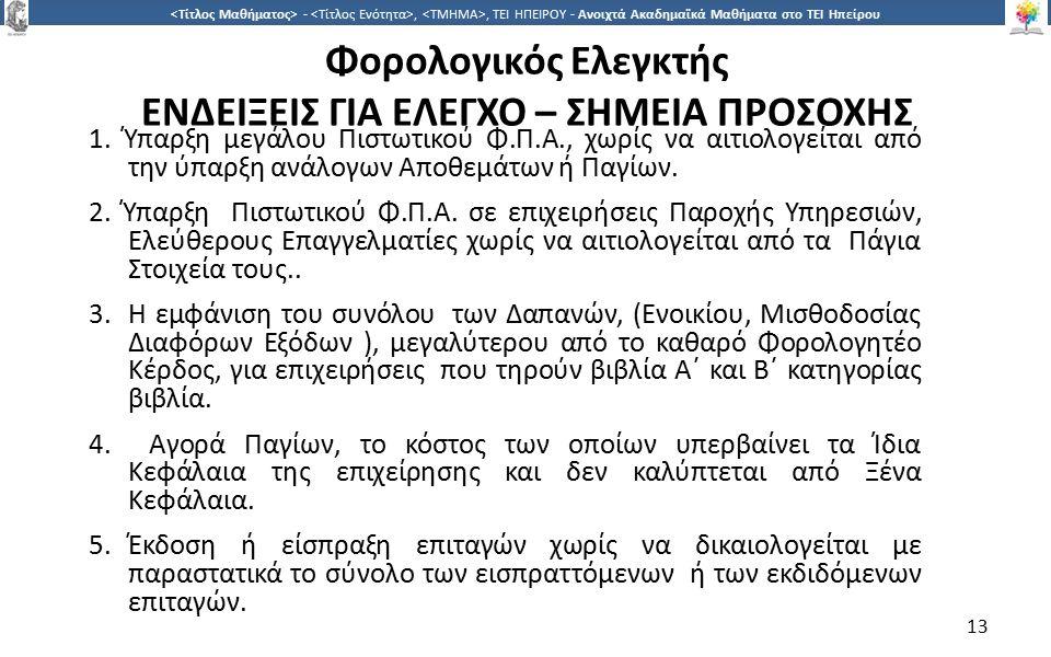 1313 -,, ΤΕΙ ΗΠΕΙΡΟΥ - Ανοιχτά Ακαδημαϊκά Μαθήματα στο ΤΕΙ Ηπείρου Φορολογικός Ελεγκτής ΕΝΔΕΙΞΕΙΣ ΓΙΑ ΕΛΕΓΧΟ – ΣΗΜΕΙΑ ΠΡΟΣΟΧΗΣ 1.