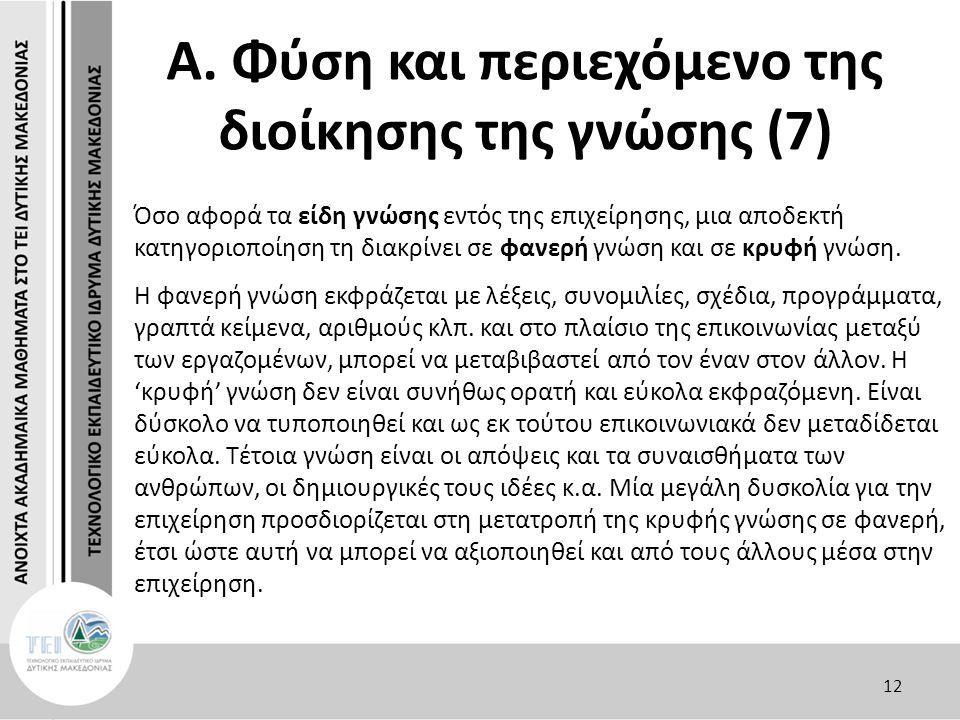 Α. Φύση και περιεχόμενο της διοίκησης της γνώσης (7) Όσο αφορά τα είδη γνώσης εντός της επιχείρησης, μια αποδεκτή κατηγοριοποίηση τη διακρίνει σε φανε