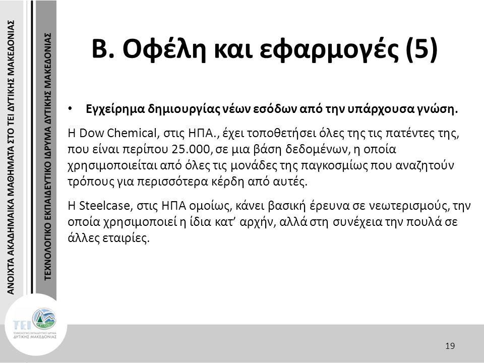 Β. Οφέλη και εφαρμογές (5) Εγχείρημα δημιουργίας νέων εσόδων από την υπάρχουσα γνώση.