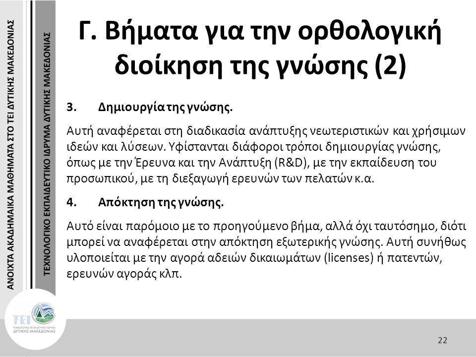 Γ. Βήματα για την ορθολογική διοίκηση της γνώσης (2) 3.Δημιουργία της γνώσης.