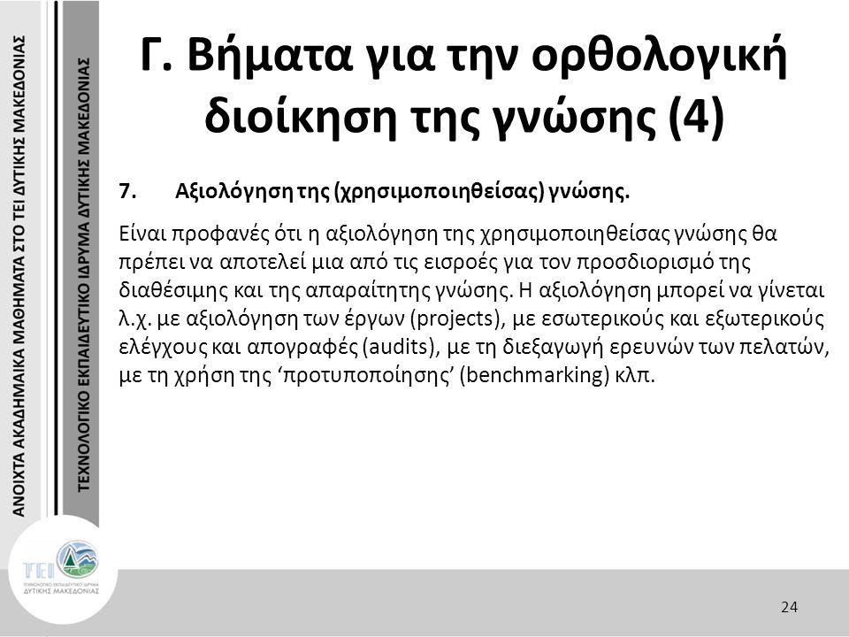 Γ. Βήματα για την ορθολογική διοίκηση της γνώσης (4) 7.Αξιολόγηση της (χρησιμοποιηθείσας) γνώσης.
