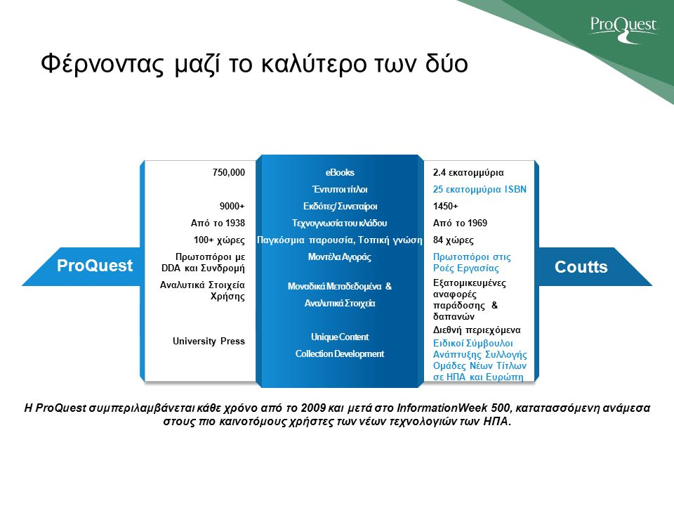 Φέρνοντας μαζί το καλύτερο των δύο ProQuest Coutts Η ProQuest συμπεριλαμβάνεται κάθε χρόνο από το 2009 και μετά στο InformationWeek 500, κατατασσόμενη