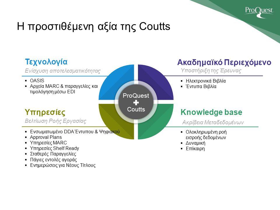 Η προστιθέμενη αξία της Coutts ProQuest Coutts Ενίσχυση αποτελεσματικότητας  OASIS  Αρχεία MARC & παραγγελίες και τιμολόγηση μέσω EDI Τεχνολογία Βελτίωση Ροής Εργασίας  Ενσωματωμένο DDA Έντυπου & Ψηφιακού  Approval Plans  Υπηρεσίες MARC  Υπηρεσίες Shelf Ready  Σταθερές Παραγγελίες  Πάγιες εντολές αγοράς  Ενημερώσεις για Νέους Τίτλους Υπηρεσίες Υποστήριξη της Έρευνας  Ηλεκτρονικά Βιβλία  Έντυπα Βιβλία Ακαδημαϊκό Περιεχόμενο Ακρίβεια Μεταδεδομένων  Ολοκληρωμένη ροή εισροής δεδομένων  Δυναμική  Επίκαιρη Knowledge base