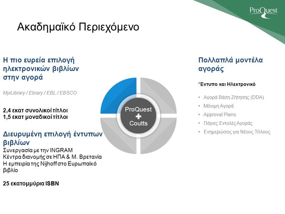 ProQuest Coutts Η πιο ευρεία επιλογή ηλεκτρονικών βιβλίων στην αγορά MyiLibrary / Ebrary / EBL / EBSCO 2,4 εκατ συνολικοί τίτλοι 1,5 εκατ μοναδικοί τίτλοι Ακαδημαϊκό Περιεχόμενο Διευρυμένη επιλογή έντυπων βιβλίων Συνεργασία με την INGRAM Κέντρα διανομής σε ΗΠΑ & Μ.