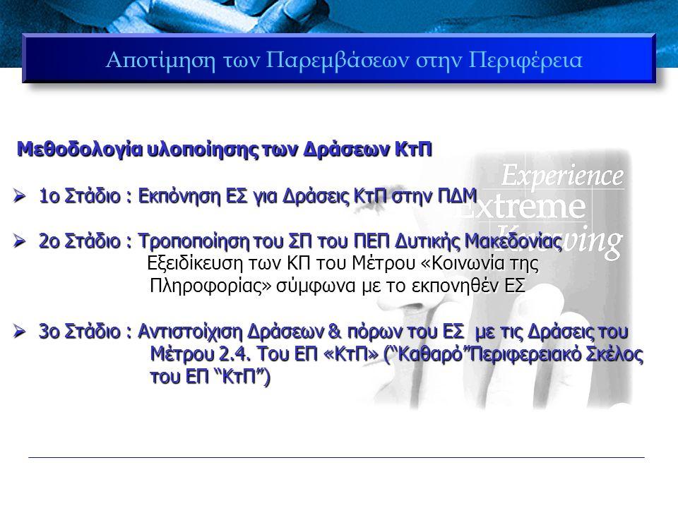 Νομός Αριθμός Ενταγμένων Έργων Ποσοστό Αριθμού Ενταγμένων Έργων Ποσοστό επί του συνολικού Προϋπολογισμού Προϋπολογι σμός Γρεβενά4515%9,10% 2.300.894,8 1 € Καστοριά6120%11,65% 2.947.178,7 1 € Κοζάνη11638%30,30% 7.663.398,5 5 € Φλώρινα6822%13,86% 3.506.086,4 4 € Διανομαρχιακά196%35,09% 8.876.134,6 0 € Σύνολα309100%100,00% 25.293.693, 11 € ΕΠ ΚτΠ