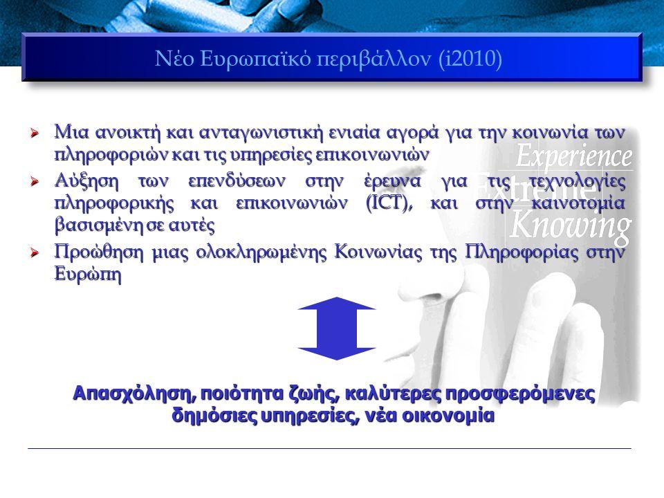 Νέο Ευρωπαϊκό περιβάλλον (i2010)  Μια ανοικτή και ανταγωνιστική ενιαία αγορά για την κοινωνία των πληροφοριών και τις υπηρεσίες επικοινωνιών  Αύξηση των επενδύσεων στην έρευνα για τις τεχνολογίες πληροφορικής και επικοινωνιών (ICT), και στην καινοτομία βασισμένη σε αυτές  Προώθηση μιας ολοκληρωμένης Κοινωνίας της Πληροφορίας στην Ευρώπη Απασχόληση, ποιότητα ζωής, καλύτερες προσφερόμενες δημόσιες υπηρεσίες, νέα οικονομία