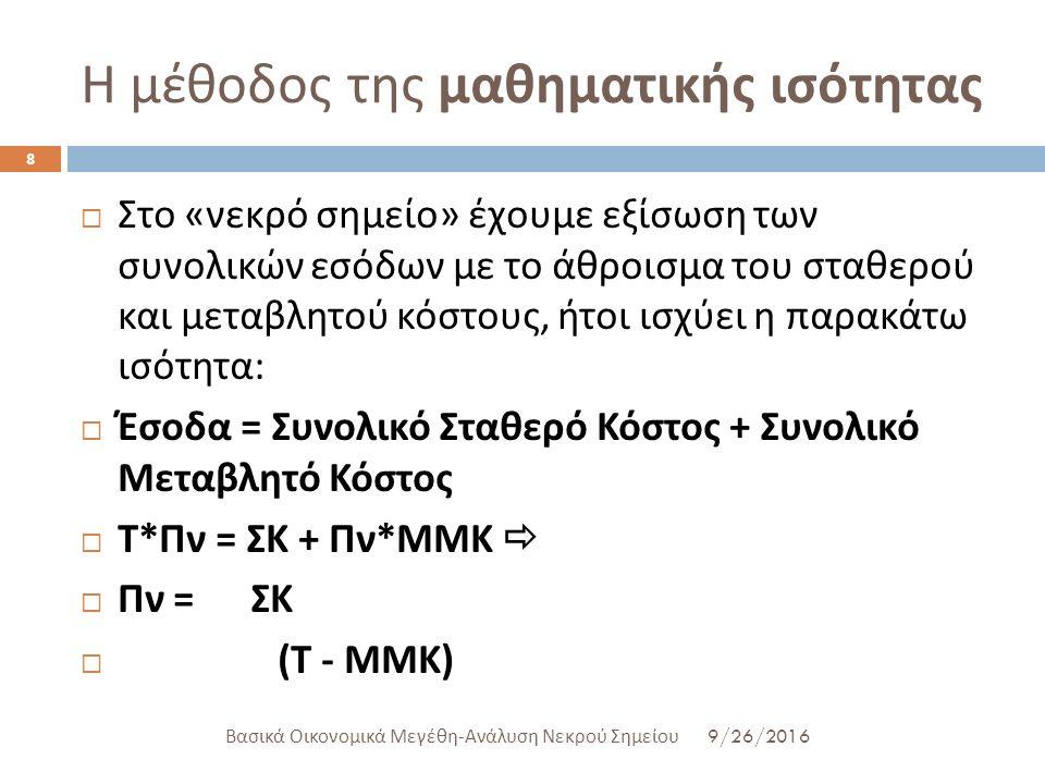 Η μέθοδος της μαθηματικής ισότητας 9/26/2016 Βασικά Οικονομικά Μεγέθη - Ανάλυση Νεκρού Σημείου 8  Στο « νεκρό σημείο » έχουμε εξίσωση των συνολικών ε