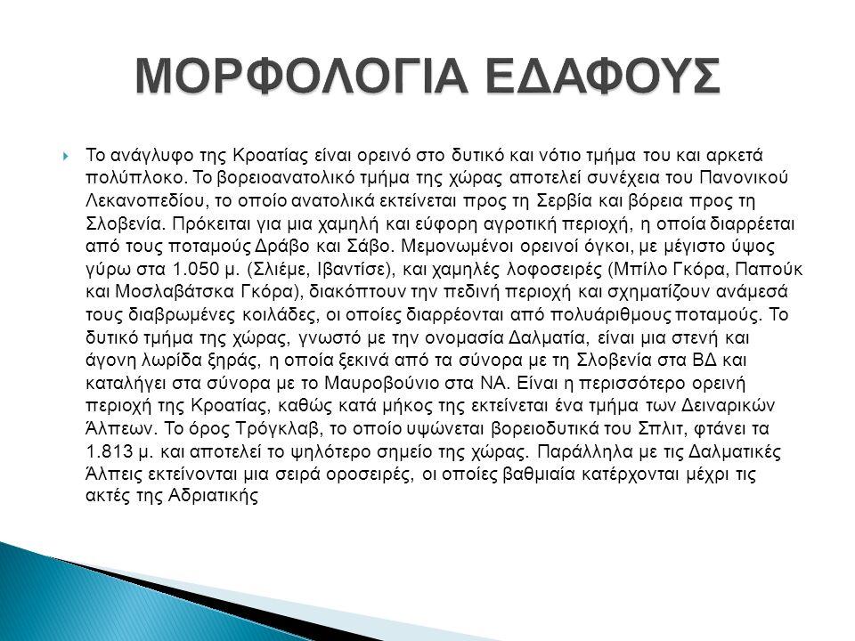  Το ανάγλυφο της Κροατίας είναι ορεινό στο δυτικό και νότιο τμήμα του και αρκετά πολύπλοκο.