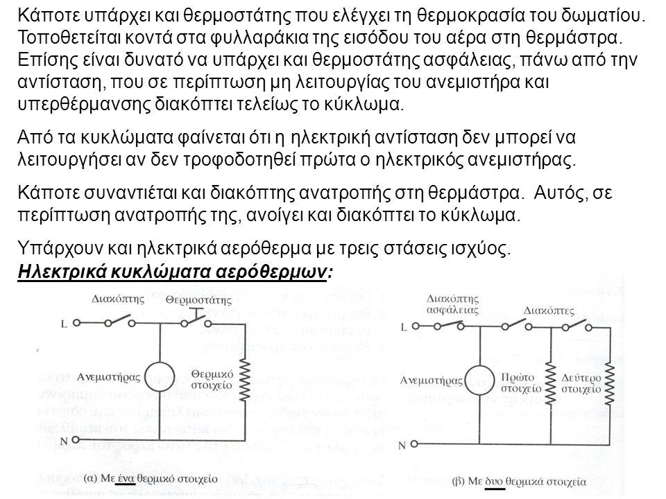 Συμπτώματα και βλάβες στα ηλεκτρικά αερόθερμα: ΣυμπτώματαΒλάβες Το αερόθερμο δε λειτουργεί καθόλου Χαλασμένος θερμοστάτης Ανοιχτό κύκλωμα αντίστασης Κομμένη παροχή Καίγεται η ασφάλεια Βραχυκύκλωμα Το αερόθερμο δε βγάζει καθόλου αέρα Καμένος κινητήρας Χαλασμένος ο διακόπτης Το αερόθερμο βγάζει μόνο κρύο αέρα Δε λειτουργεί το θερμικό στοιχείο