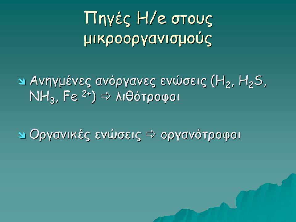 Πηγές Η/e στους μικροοργανισμούς  Ανηγμένες ανόργανες ενώσεις (H 2, H 2 S, NH 3, Fe 2+ )  λιθότροφοι  Οργανικές ενώσεις  οργανότροφοι