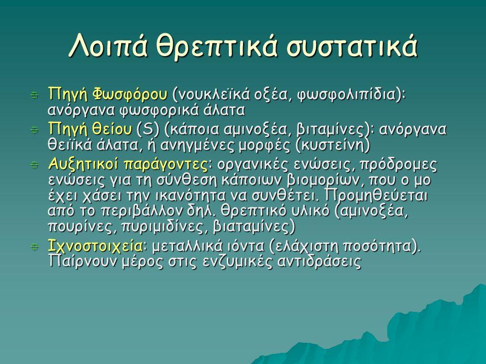 Λοιπά θρεπτικά συστατικά  Πηγή Φωσφόρου (νουκλεϊκά οξέα, φωσφολιπίδια): ανόργανα φωσφορικά άλατα  Πηγή θείου (S) (κάποια αμινοξέα, βιταμίνες): ανόργανα θειϊκά άλατα, ή ανηγμένες μορφές (κυστείνη)  Αυξητικοί παράγοντες: οργανικές ενώσεις, πρόδρομες ενώσεις για τη σύνθεση κάποιων βιομορίων, που ο μο έχει χάσει την ικανότητα να συνθέτει.