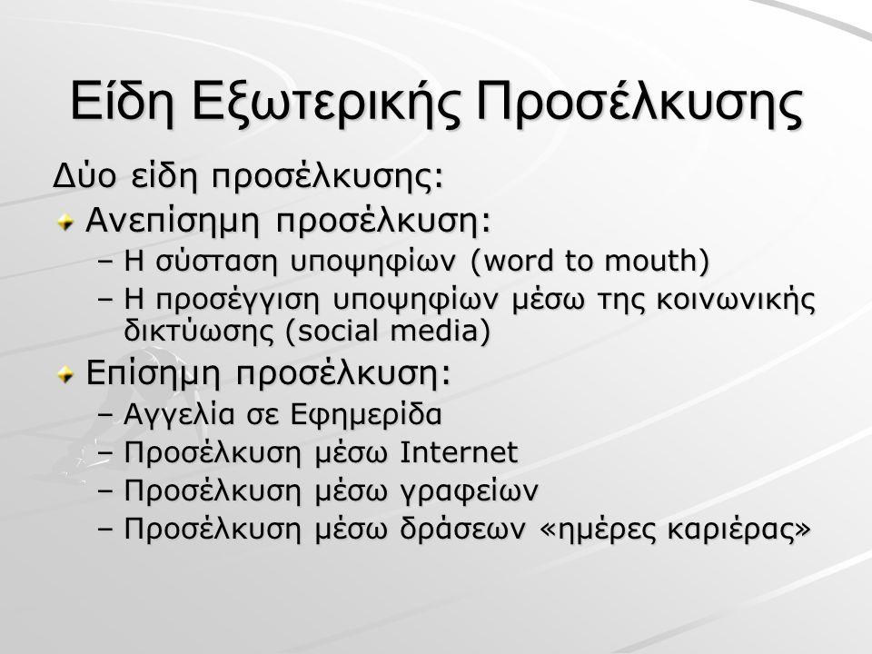 Είδη Εξωτερικής Προσέλκυσης Δύο είδη προσέλκυσης: Ανεπίσημη προσέλκυση: –Η σύσταση υποψηφίων (word to mouth) –Η προσέγγιση υποψηφίων μέσω της κοινωνικής δικτύωσης (social media) Επίσημη προσέλκυση: –Αγγελία σε Εφημερίδα –Προσέλκυση μέσω Internet –Προσέλκυση μέσω γραφείων –Προσέλκυση μέσω δράσεων «ημέρες καριέρας»