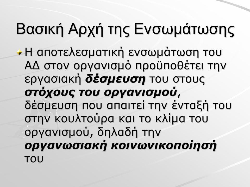 Βασική Αρχή της Ενσωμάτωσης Η αποτελεσματική ενσωμάτωση του ΑΔ στον οργανισμό προϋποθέτει την εργασιακή δέσμευση του στους στόχους του οργανισμού, δέσμευση που απαιτεί την ένταξή του στην κουλτούρα και το κλίμα του οργανισμού, δηλαδή την οργανωσιακή κοινωνικοποίησή του