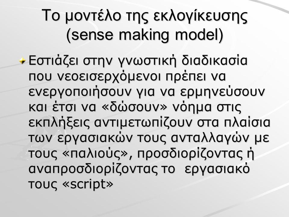 Το μοντέλο της εκλογίκευσης (sense making model) Εστιάζει στην γνωστική διαδικασία που νεοεισερχόμενοι πρέπει να ενεργοποιήσουν για να ερμηνεύσουν και έτσι να «δώσουν» νόημα στις εκπλήξεις αντιμετωπίζουν στα πλαίσια των εργασιακών τους ανταλλαγών με τους «παλιούς», προσδιορίζοντας ή αναπροσδιορίζοντας το εργασιακό τους «script»